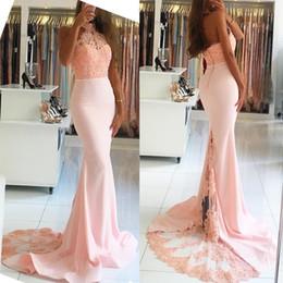 Wholesale Halter Collar Wedding Dresses - New Luxury Elegant Halter Mermaid Off-the-Shoulder Pink Evening Dresses 2017 Lace Appliques Long Prom Dresses Vestido De Noiva