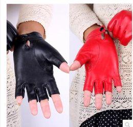 Wholesale Fingerless Dance Gloves - The wholesale- Brand Women Genuine Leather Gloves Sheepskin Leather Fingerless Gloves Black Red Dance Driving Glove
