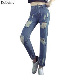 Wholesale High Waist Vintage Jeans Wholesale - Wholesale- Harajuku BF Wind Women's Jeans High Waist Ripped Pants Female Plus Size Vaqueros 2017 Pencil Pantalones Spring Denim Trousers