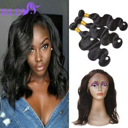 Wholesale India Body Wave Hair - India Virgin Hair Body Wave Bundles With 360 Lace Frontal Closure Double Weft Human Hair Extensions With Closure Hair Weaves Closure Body Wa