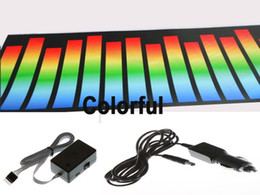 Wholesale Sound Activated Car Panel - 70*16cm Colorful El Sticker Led Sound Activated Equalizer Car Sticker Super Brightness And Cheaper Panel With Cigarette