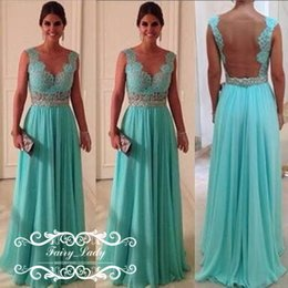 Wholesale Turquoise Black Sexy Dress - Sexy Sheer Back Long Bridesmaid Dresses Pleat A Line Beads Turquoise Chiffon Women Illusion Bodice Party Bridal 2017