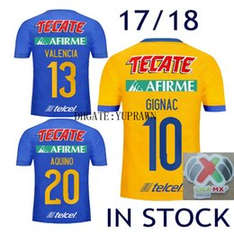 Wholesale Valencia Football - #10 GIGNAC Mexico Soccer Jersey Tigres UANL 17 18 Yellow Away 5 Stars Vargas LIGA MX 2017 2018 Tigres SOSA Valencia Football Shirts