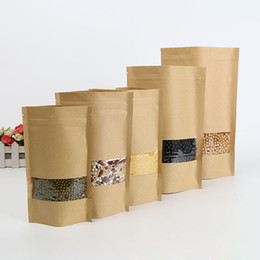 Wholesale Eco Friendly Paper Packaging - 9*14cm Doypack Kraft Paper Ziplock Storage Bag Stand Up Paper Coffee Tea Biscuit Package Pouch With Window ZA4165