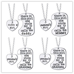 Wholesale Christmas Call - mother daughter jewelry there is this girl she stole my heart she calls me Mommy Mommy's Girl engraved heart Pendant necklaces