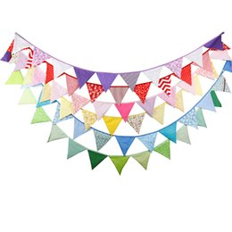 Wholesale wholesale fabric bunting - Wholesale- 6pc color Lot 3.2M 12flags Wedding Fabric Bunting Decoration Baby Shower birthday party decorations kids Photo Prop Home Garland