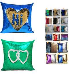 Wholesale Embroidered Sofa Fabrics - 2017 new Mermaid Pillow Insert Sparkling Flip Sequin Pillow Magic Reversible 2 Color Changing Decorative Room Sofa Car-styling CASE 40*40cm