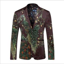 куртка мужская коричневая Скидка Wholesale- Men Blazers And Jackets 2016 Peacock Printed Blazer Men Fashion Designer Suit Blazer Masculino Casual Coat Wedding Dress HZ416