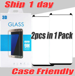Wholesale Iphone Screen Mirrors - S8 S8 Plus Case Friendly 3d curved glass phone screen protector film case version 3d glass For samsung galaxy S8 S8Plus 2pcs in 1 pack