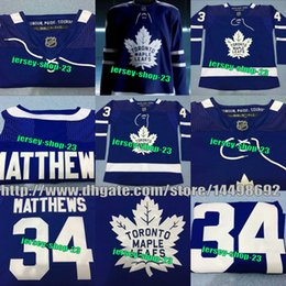 Wholesale Custom Jersey Embroidery - Mens 2017-2018 Season New Toronto Maple Leafs 34 Matthews Auston 16 Marner Mitchell Blue Embroidery logos Custom Jersey Free Shipping