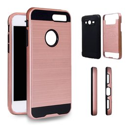Wholesale Shockproof Phones - For Iphone X 8 7 Plus Hybrid Brushed Dual Layered Shockproof Armor Phone Case For Alcate A30 ZTE Zmax Pro LG Q6 Aristo 2