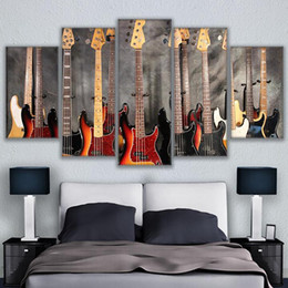 Wholesale Musical Wall Art Decor - 5 Pcs Set Canvas Pictures HD Prints Wall Art Musical Instrument Guitar Paintings Home Decor Bass Guitar Collage Posters Framework