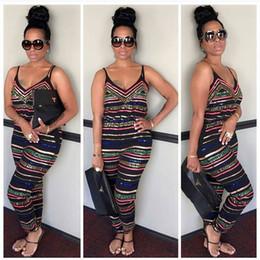 Wholesale Club Wear Jumpsuits - Wholesale- Sexy Women Summer Clubwear Playsuit Strappy Jumpsuit Sleeveless Low Cut Bodysuit Sexy Evening Club Wear For Women Plus Size