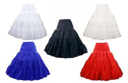 Wholesale Ruffle Yarn Red Black - Short Organza Petticoat Crinoline Vintage Wedding Bridal Petticoat for Wedding Dresses Underskirt Rockabilly Tutu Rock and Ballet Skirt