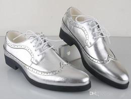 Wholesale Men S Business Leather Shoes - NEW Classic Men€s Silver Leather Lace-up Shoes Fashion Leisure Business Wedding Groom Shoe Breathable Shoes Mens Dress Shoe Black Gol