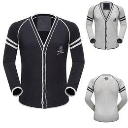 Wholesale Skull Long Sleeve Knit Sweater - Luxury Brand Sweaters Man Wool Cardigan Single Breasted Embroidery Skull Men's V-Neck Knit Wear Hot Sale Lighweight Cotton Sweaters Wear