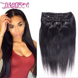 Wholesale 26 Inches Clip Extensions - Malayzian Virgin Human Hair Clip In Hair Extension Natural Black Straight Unprocessed Clip Ins 12-28 Inches