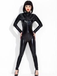 Wholesale Long Sleeve Bodysuit Catsuit Jumpsuits - Women WetLook Black Long Sleeve Overall Catsuit Bodysuit Fancy Costumes Jumpsuit Sexy Lingerie