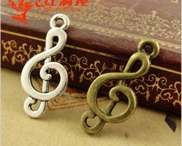 Wholesale beads 23mm - 10*23MM Antique Bronze Retro music symbol charm pendant beads retro jewelry, DIY jewelry wholesale cheap bulk musical note charm