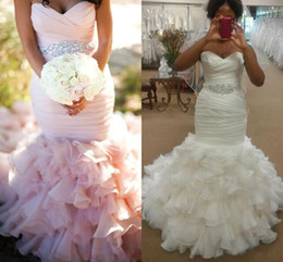 Wholesale Sweetheart Fit Flare Gowns - Custom Made 2016 Wedding Dresses Sexy Sweetheart Neck Bling Beads Sash Blush Pink Mermaid Backless Tiered Ruffles Fit and Flare Bridal Gowns