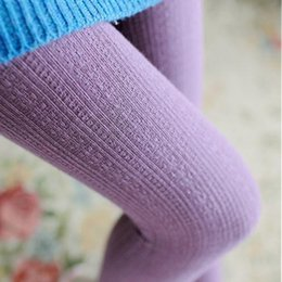 Wholesale Color Stocking Pantyhose - Wholesale-Fashion Design Autumn Winter Knitted Stripe Stocks Pantyhose Elastic Striped Solid Color Women Girl Socks Thigh High Sock