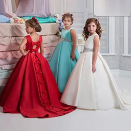 Wholesale Children Wedding Dresses Beaded - Arabic 2018 Flower Girl Dresses For Wedding Beaded Waist Satin A Line Girls Pageant Gowns Hollow Back With Bows Children Party Dress