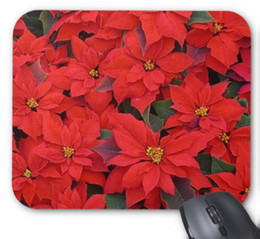 Wholesale Red Computer Mouse Pad - Rectangular non-slip natural rubber mouse mat red poinsettias i christmas holiday floral photo mouse pad computer accessories office