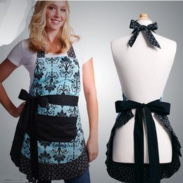 Wholesale Cotton Retro Kitchen Apron Woman Flirty Aqua Damask Ruffled Chef Floral Cooking Aprons Free Size Color