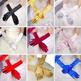 Wholesale Short Satin Fingerless Wedding Gloves - Wholesale Cheap Colorful Bridal Gloves Full Finger Wrist Length Satin Short Wedding Gloves Excellent Quality Elbow Length In Stock