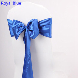 Wholesale Satin Bows For Chairs - Royal blue colour satin sash chair high quality bow tie for chair covers sash party wedding hotel banquet home decoration wholesale