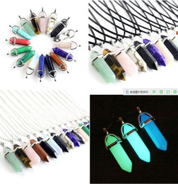 Wholesale Turquoise Black Stone Necklace - New Bullet Shape Natural Stone Necklaces & Pendants Hexagonal Prism Quartz Turquoise Crystal Gems Necklaces Jewelry For Women Men