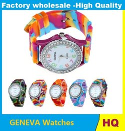 Wholesale Geneva Popular Watch Silicone Quartz - Wholesale popular Geneva silicone rubber jelly candy watches unisex mens womens ladies colorful camouflage quartz watches