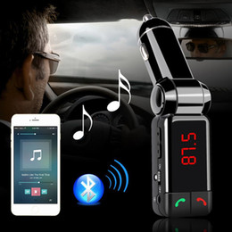 Wholesale Usb Modulator For Car - Fashion Portable Dual USB Auto Bluetooth Car Kit Wireless Hands Free Calling MP3 Player FM Transmitter Modulator+Car Charger