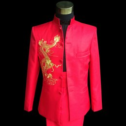 Wholesale Chinese Plus Size Costumes - Plus Size Red Embroidered Dragon Chinese tunic Suit Mens Singer Performance Costume S-3XL