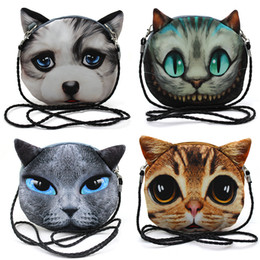 Wholesale Dog Head Handbag - 3D Cat Face Pouch Bag Cartoon Cat Messenger Bag print animal face Handbag for women Crossbody Bag with dog head cat bags 18style K024