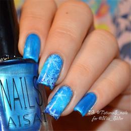 Wholesale Wholesale Shimmer Nail Polish - Wholesale-Women Shimmer Blue Nail Polish Nail Art Enamel Top Coat Varnish Soak Off Polish -15ML