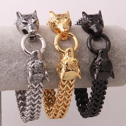Wholesale 12mm Figaro Silver Bracelet - Men's 12mm*22cm Silver Gold Black Wolf Head Tone Charming Figaro Mesh Chain Stainless Steel Bracelet For Customer' Best Gifts