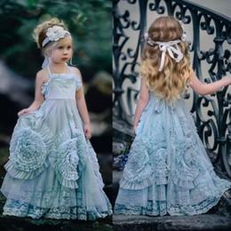 Vestido de niña de flores azul claro vintage vestido de princesa pequeña desde fabricantes