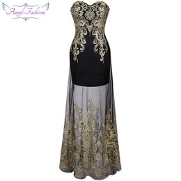 Wholesale Prom Maxi - Angel-fashions Women Strapless Embroidery Lace Sheer Illusion Column Maxi Party Dresses Prom Gowns for Women 189