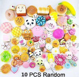 Wholesale Charms For Cell Phones Wholesalers - 10pcs Kawaii Squishies Bun Toast Donut Bread for cell phone Bag Charm Straps Wholesale mixed Rare Squishy slow rising lanyard scented