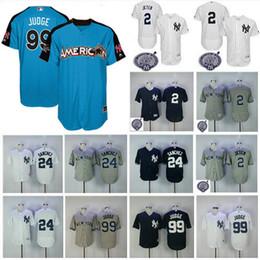 Wholesale Quick Drying - Men's New York Yankees Jersey 2 Derek Jeter 24 Gary Sanchez 99 Aaron Judge Navy Blue 2017 All Star Baseball Jerseys