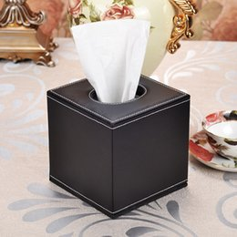 Wholesale Wholesale Paper Towel Dispensers - Wholesale- Black Leather Square Gold Flower Tissue box Covers Roll Paper Napkin Towel Holders canister dispenser