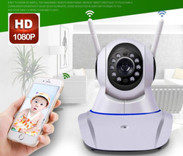 Wholesale Ip Pan - 2017 New Double antenna Camera wireless IP camera WIFI Megapixel 1080P HD indoor Wireless Digital Security CCTV IP Cam IR MOQ;1PCS