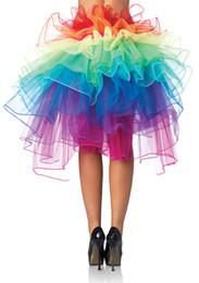 Wholesale Dress Rainbow Layer - Women Rainbow gauze skirt tail multicolor colorful lace trailing Tutu 6 Layer dress
