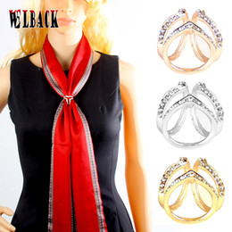Wholesale Square Brooch - Wholesale- Authentic Korean fashion scarf buckle accessories simple three ring square crystal shawl buckle ring for women