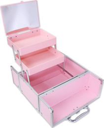 Wholesale Makeup Train Cases - Wholesale- 28.5 x 16.5 x 21.5 cm Facebox 11 inches Aluminum Makeup Jewelry Box Cosmetic Train Case Organizer PINK