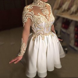Wholesale high neck red cocktail dress - 2017 High Collar Ball Gown Cocktail Dresses Mini Sheer Neck Appliqued Sexy Illusion Long Sleeves Backless Prom Gowns