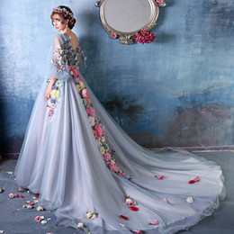Wholesale Stunning Princess Prom Dresses - 2017 Stunning With Sleeves Princess Flowers Puffy Prom Dresses Court Train Dinner Costume Evening Dress Party Dresses