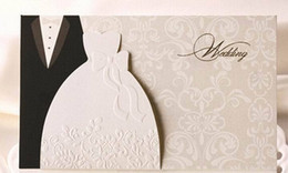 Wholesale Customizable Invitations - Wholesale-HOT western-style Groom & Bride Clothes Customizable Printable Wedding Invitations Cards