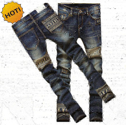 Wholesale Jeans Patch Boy - Wholesale-New Teenagers Fashion Slim Fit Pants Boys Skeleton Printed Patch Jeans Men Vintage Hip Hop Straight Hole Harem Pants Homme 28-34